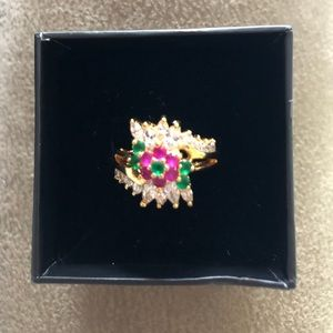 Gold / Ruby / Emerald and Crystal Ring